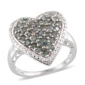 Narsipatnam Alexandrite, Diamond Platinum Over Sterling Silver Heart Cluster Ring (Size 7.0) TDiaWt 0.02 cts, TGW 1.504 cts.
