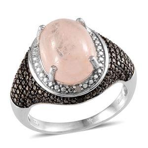 Marropino Morganite, Black Diamond, Diamond Platinum Over Sterling Silver Ring (Size 7.0) TDiaWt 0.04 cts, TGW 6.790 cts.