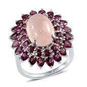 Marropino Morganite, Orissa Rhodolite Garnet Platinum Over Sterling Silver Ring (Size 8.0) TGW 13.050 cts.