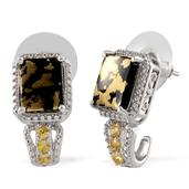 Goldenite, Yellow Sapphire, Diamond 14K YG and Platinum Over Sterling Silver J-Hoop Earrings TDiaWt 0.010Cts., TGW 5.41 Cts.