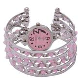STRADA Japanese Movement Cuff Watch With Pink Chroma Bead and Stainless Steel Back