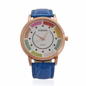 STRADA Japanese Movement Multi Color Stripe Face Watch with Blue Band and Stainless Steel Back