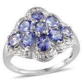 Tanzanite Platinum Over Sterling Silver Ring (Size 10.0) TGW 3.300 cts.