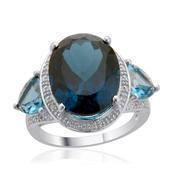 London Blue Topaz, White Topaz Sterling Silver Ring (Size 10.0) TGW 13.570 cts.