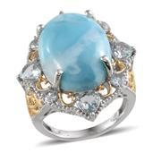 Larimar, Espirito Santo Aquamarine 14K YG and Platinum Over Sterling Silver Eye-Catching Ring (Size 8.0) TGW 21.300 cts.