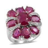 Niassa Ruby, White Topaz Sterling Silver Ring (Size 7.0) TGW 11.310 cts.