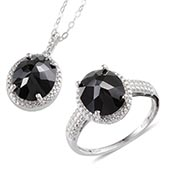 Thai Black Spinel Platinum Over Sterling Silver Ring (Size 7) and Pendant With Stainless Steel Chain (20 in) TGW 12.00 cts.