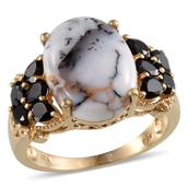 Dendritic Agate (Ovl 6.90 Ct), Thai Black Spinel Ring in 14K YG Overlay Sterling Silver Nickel Free (Size 6.0) TGW 9.300 cts.