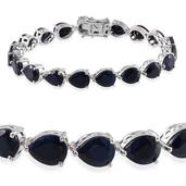 Kanchanaburi Blue Sapphire Platinum Over Sterling Silver Bracelet (7.50 In) TGW 38.400 cts.