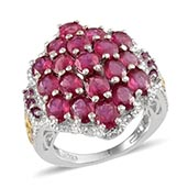 Niassa Ruby, Orissa Rhodolite Garnet 14K YG and Platinum Over Sterling Silver Graceful Cluster Ring (Size 7.0) TGW 8.450 cts.