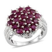 Ruby, Diamond Platinum Over Sterling Silver Ring (Size 7.0) TDiaWt 0.01 cts, TGW 4.510 cts.