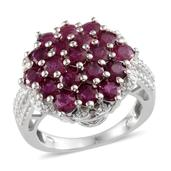 Ruby, Diamond Platinum Over Sterling Silver Ring (Size 8.0) TDiaWt 0.01 cts, TGW 4.510 cts.