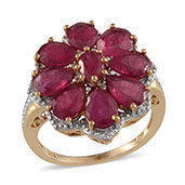 Niassa Ruby, Diamond 14K YG Over Sterling Silver Ring (Size 6.0) TDiaWt 0.01 cts, TGW 8.840 cts.