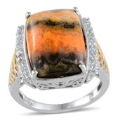 Bumble Bee Jasper, White Topaz 14K YG and Platinum Over Sterling Silver Ring (Size 7.0) TGW 10.960 cts.