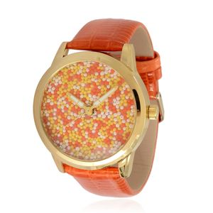 STRADA Beaded Face Japanese Movement Watch With Orange Band and Stainless Steel Back