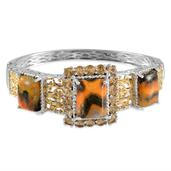 Bumble Bee Jasper, Brazilian Citrine 14K YG and Platinum Over Sterling Silver Bangle (7.5 in) TGW 26.40 Cts.