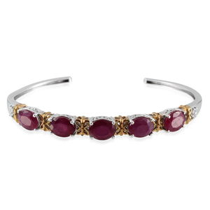 Niassa Ruby, White Topaz 14K YG and Platinum Over Sterling Silver Cuff TGW 17.80 cts.