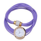 STRADA Austrian Crystal Japanese Movement Lavender Wrap Watch with Stainless Steel Back