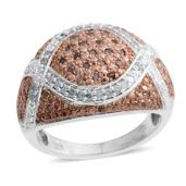 Champagne Diamond, Diamond 14K RG and Platinum Over Sterling Silver Ring (Size 9.0) TDiaWt 0.50 cts, TGW 0.50 cts.