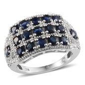Kanchanaburi Blue Sapphire, Diamond Platinum Over Sterling Silver Ring (Size 5.0) TDiaWt 0.01 cts, TGW 3.410 cts.