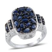 Kanchanaburi Blue Sapphire, Blue Diamond Platinum Over Sterling Silver Ring (Size 9.0) TDiaWt 0.04 cts, TGW 4.830 cts.