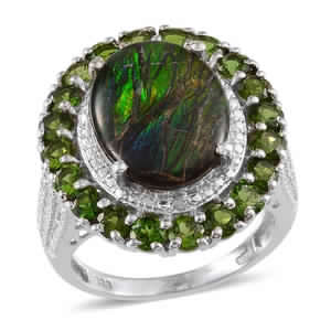 Canadian Ammolite, Russian Diopside, Diamond Platinum Over Sterling Silver Ring (Size 7.0) TDiaWt 0.02 cts, TGW 7.320 cts.