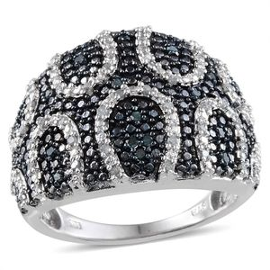 Blue Diamond (IR), Diamond Platinum Over Sterling Silver Ring (Size 8.0) TDiaWt 0.50 cts, TGW 0.500 cts.
