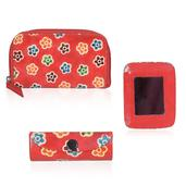 Red Leather Mirror, Small Wallet and Lipstick Case Set