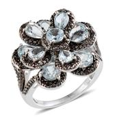 Sky Blue Topaz, Black Diamond Platinum Over Sterling Silver Ring (Size 7) TDiaWt 0.10 cts, TGW 8.220 cts.