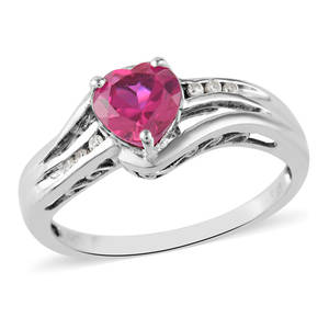 Lab Created Ruby, Lab Created White Sapphire Sterling Silver Bypass Heart Ring (Size 7.0) TGW 1.45 cts.