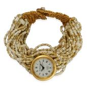 STRADA Japanese Movement Bracelet Watch with Stainless Steel Back and Golden and White Seed Bead Band (8 in)