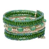 White and Green Wooden Beads, Green Glass Beads Bracelet in Silvertone (7.5 in) TGW 0.002 cts.