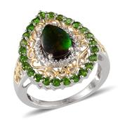 Canadian Ammolite, Russian Diopside, Diamond 14K YG and Platinum Over Sterling Silver Ring (Size 8.0) TDiaWt 0.01 cts, TGW 3.010 cts.