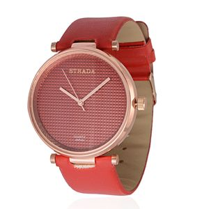 STRADA Japanese Movement Watch with Red Band and Stainless Steel Back