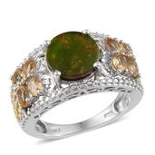 Canadian Ammolite, Brazilian Citrine, Diamond 14K YG and Platinum Over Sterling Silver Ring (Size 7.0) TDiaWt 0.01 cts, TGW 4.110 cts.