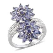 Tanzanite, Diamond Platinum Over Sterling Silver Ring (Size 7.0) TDiaWt 0.04 cts, TGW 3.240 cts.
