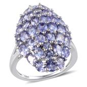 Tanzanite Platinum Over Sterling Silver Ring (Size 9.0) TGW 6.550 cts.