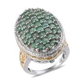 Kagem Zambian Emerald 14K YG and Platinum Over Sterling Silver Ring (Size 8.0) TGW 3.77 cts.