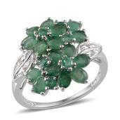 Kagem Zambian Emerald, Diamond Platinum Over Sterling Silver Ring (Size 6.0) TDiaWt 0.02 cts, TGW 3.140 cts.