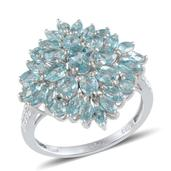 Madagascar Paraiba Apatite, Diamond Platinum Over Sterling Silver Ring (Size 6.0) TDiaWt 0.01 cts, TGW 3.910 cts.