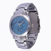 GENOA Miyota Japanese Movement Blue Howlite Face Watch in Silvertone with Stainless Steel Back