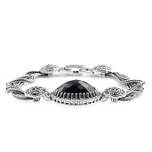 Thai Black Spinel, Swiss Marcasite Sterling Silver Bracelet (7.50 In) TGW 25.300 cts.