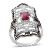 Niassa Ruby, Black Diamond, Diamond Sterling Silver Ring (Size 7.0) TDiaWt 0.05 cts, TGW 1.55 cts.