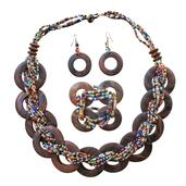 Multi Color Seed Bead, Wooden Silvertone Bracelet (Stretchable), Earrings and Necklace (20.00 In)