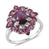 Kenyan Ruby (Ovl 3.00 Ct), Orissa Rhodolite Garnet Ring in Platinum Overlay Sterling Silver Nickel Free (Size 8.0) TGW 5.950 cts.