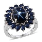 Thai Blue Star Sapphire, Kanchanaburi Blue Sapphire Platinum Over Sterling Silver Ring (Size 9.0) TGW 11.700 cts.