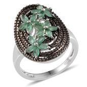 Kagem Zambian Emerald, Black Diamond Platinum Over Sterling Silver Ring (Size 7.0) TDiaWt 0.05 cts, TGW 1.445 cts.