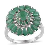 Kagem Zambian Emerald, Diamond Platinum Over Sterling Silver Ring (Size 9) TDiaWt 0.02 cts, TGW 5.100 cts.
