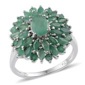 Kagem Zambian Emerald Platinum Over Sterling Silver Ring (Size 7.0) TGW 3.400 cts.