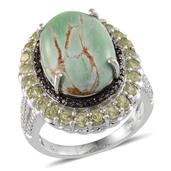 Utah Variscite, Hebei Peridot, Black Diamond Platinum Over Sterling Silver Ring (Size 9.0) TDiaWt 0.02 cts, TGW 12.950 cts.